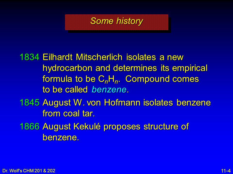 1845 August W. von Hofmann isolates benzene from coal tar.
