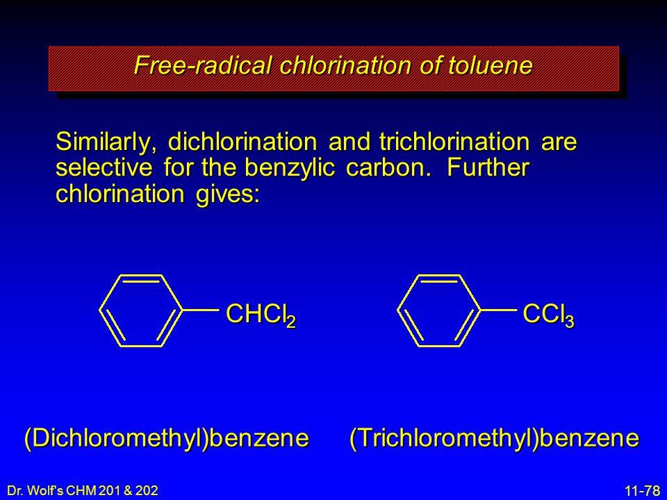 Free-radical chlorination of toluene