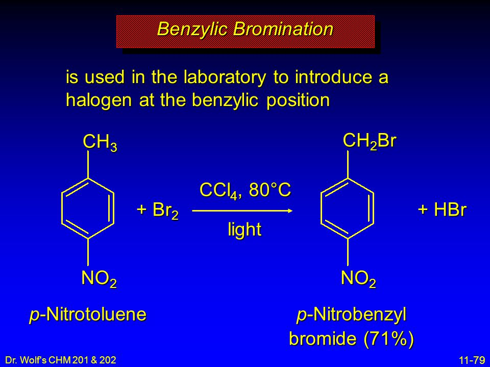 Benzylic Bromination is used in the laboratory to introduce a halogen at the benzylic position. CH3.