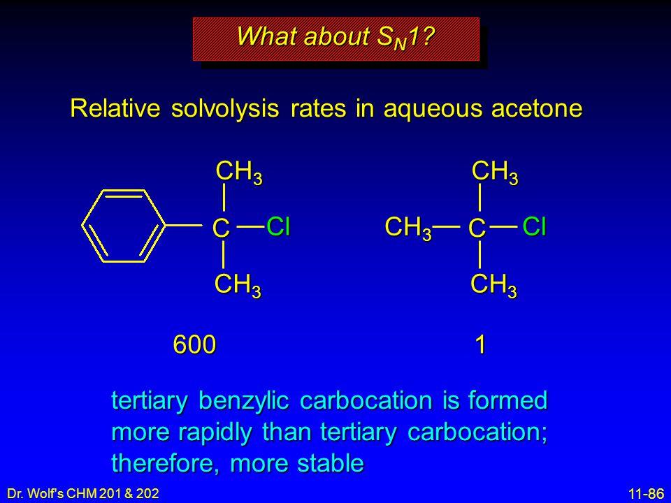 Relative solvolysis rates in aqueous acetone
