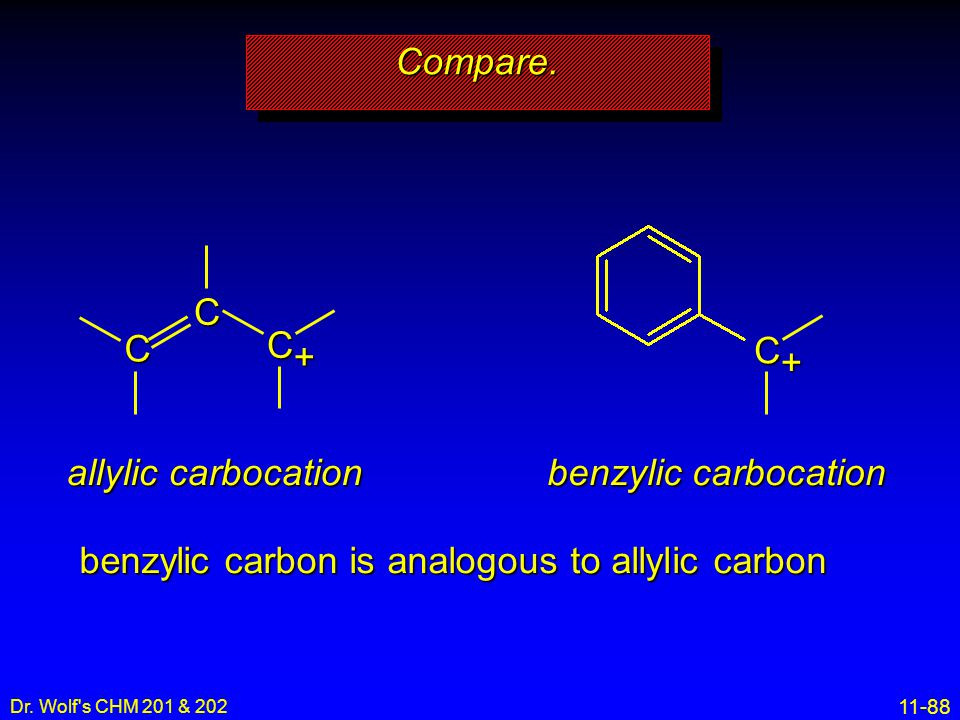 benzylic carbon is analogous to allylic carbon