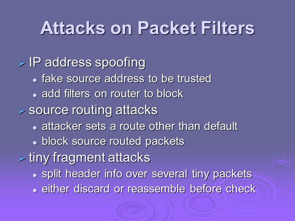 Attacks on Packet Filters