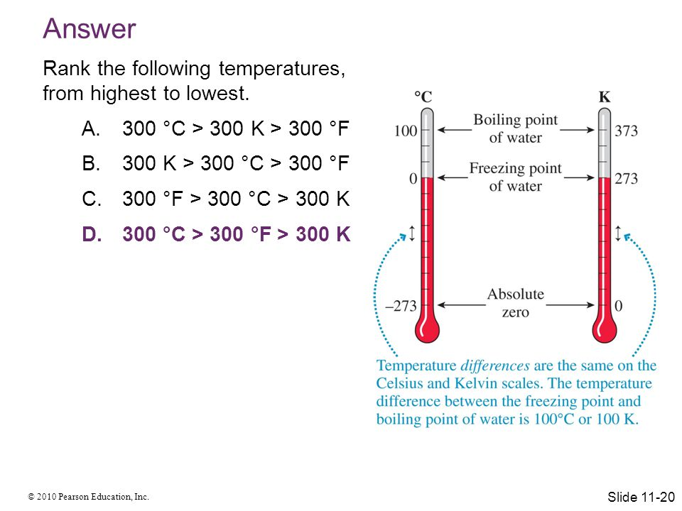 Answer Rank the following temperatures, from highest to lowest.