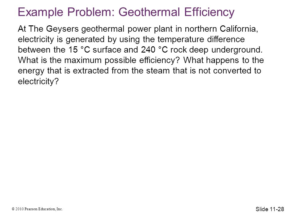 Example Problem: Geothermal Efficiency