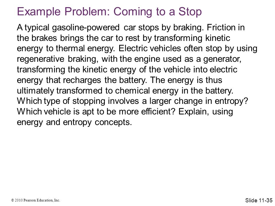Example Problem: Coming to a Stop