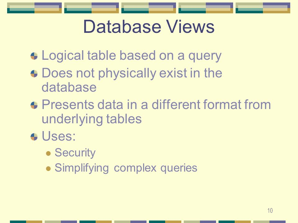 Database Views Logical table based on a query