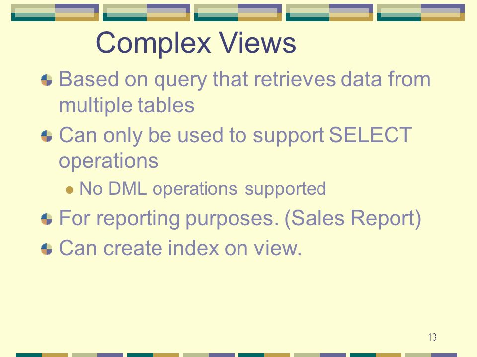 Complex Views Based on query that retrieves data from multiple tables