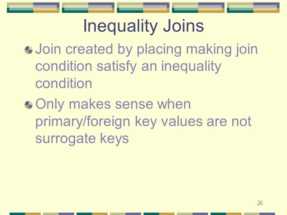 Inequality Joins Join created by placing making join condition satisfy an inequality condition.
