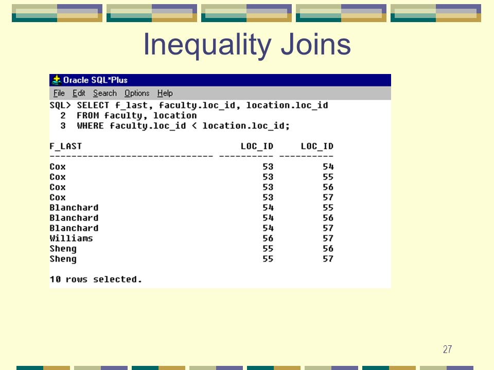 Inequality Joins