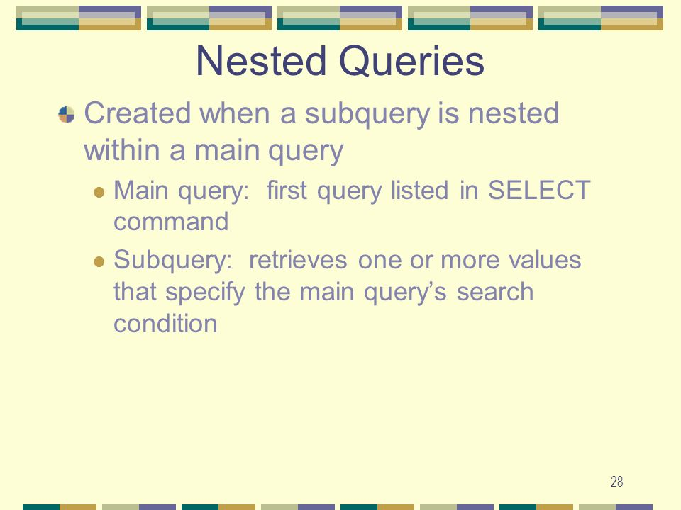 Nested Queries Created when a subquery is nested within a main query