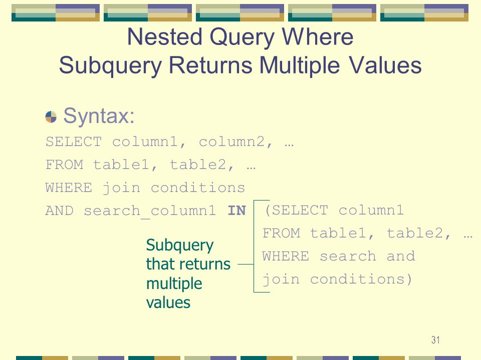 Nested Query Where Subquery Returns Multiple Values
