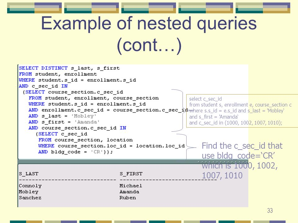 Example of nested queries (cont…)