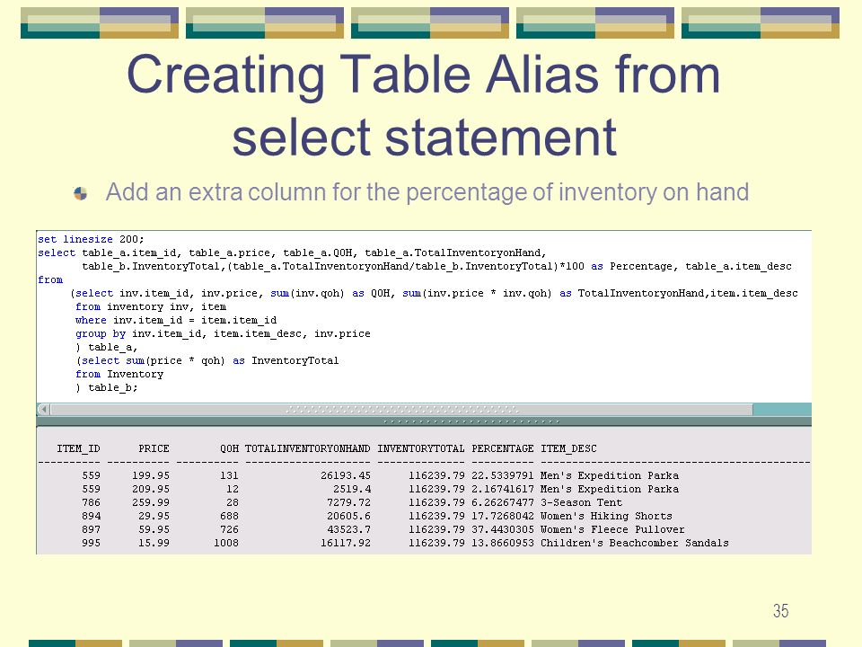 Creating Table Alias from select statement