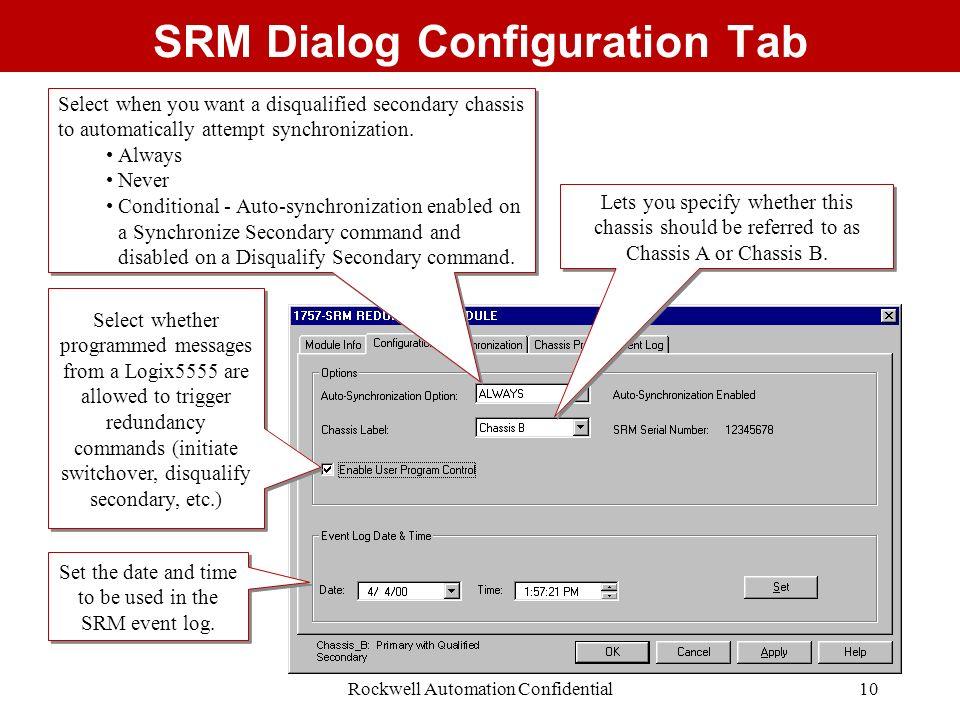 SRM Dialog Configuration Tab