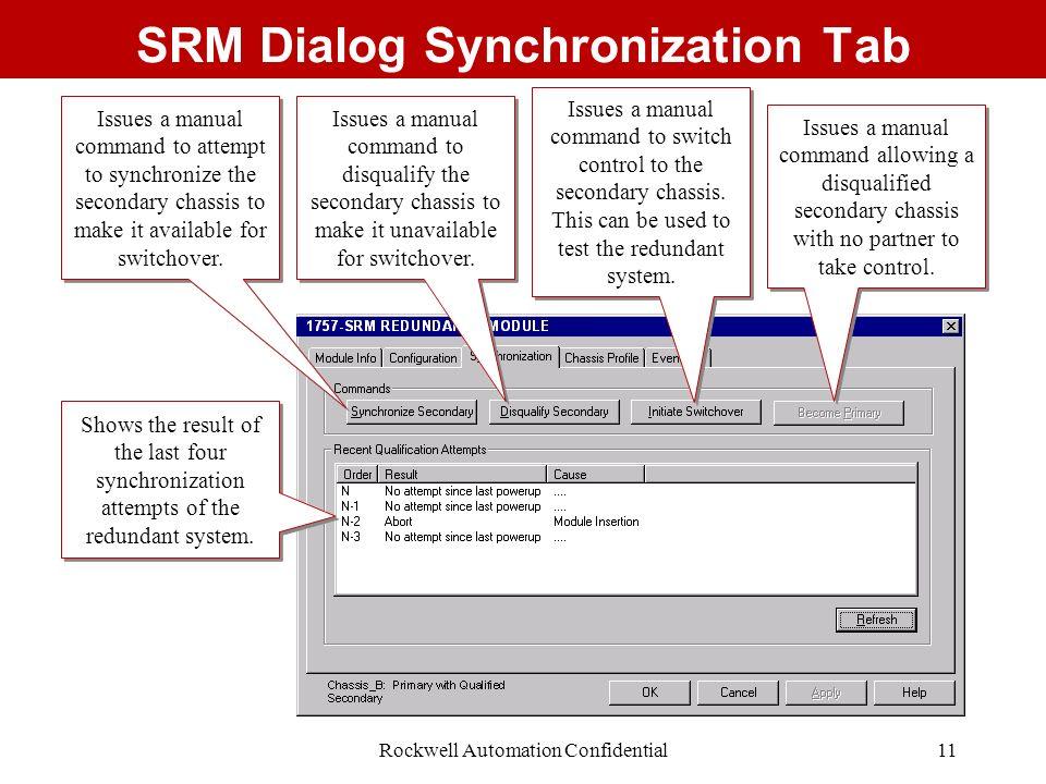 SRM Dialog Synchronization Tab
