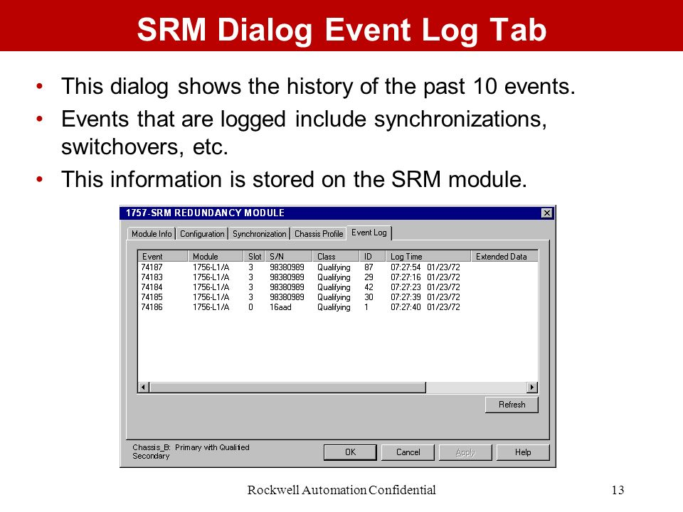 SRM Dialog Event Log Tab