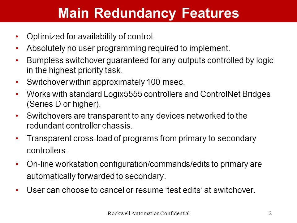 Main Redundancy Features