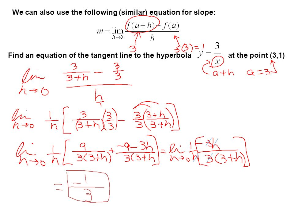 We can also use the following (similar) equation for slope: