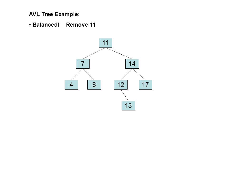 AVL Tree Example: Balanced! Remove 11 11 7 14 4 8 12 17 13