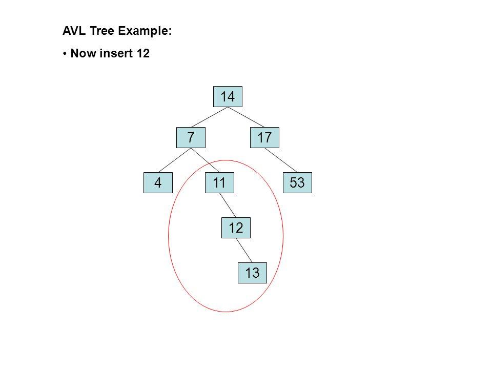 AVL Tree Example: Now insert 12 14 7 17 4 11 53 12 13