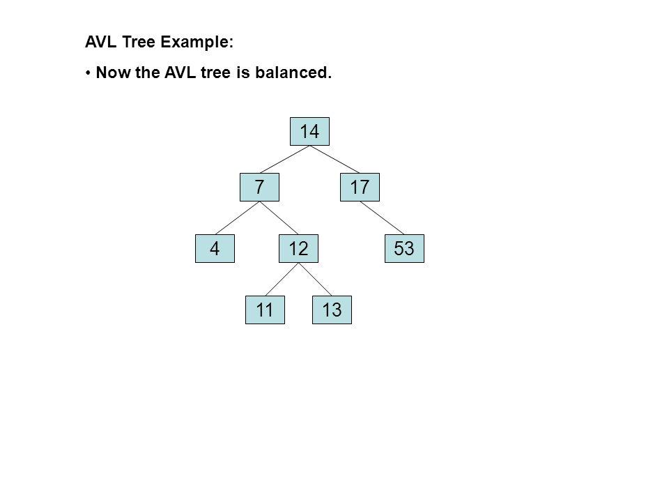 AVL Tree Example: Now the AVL tree is balanced. 14 7 17 4 12 53 11 13