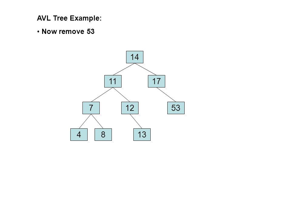 AVL Tree Example: Now remove 53 14 11 17 7 12 53 4 8 13