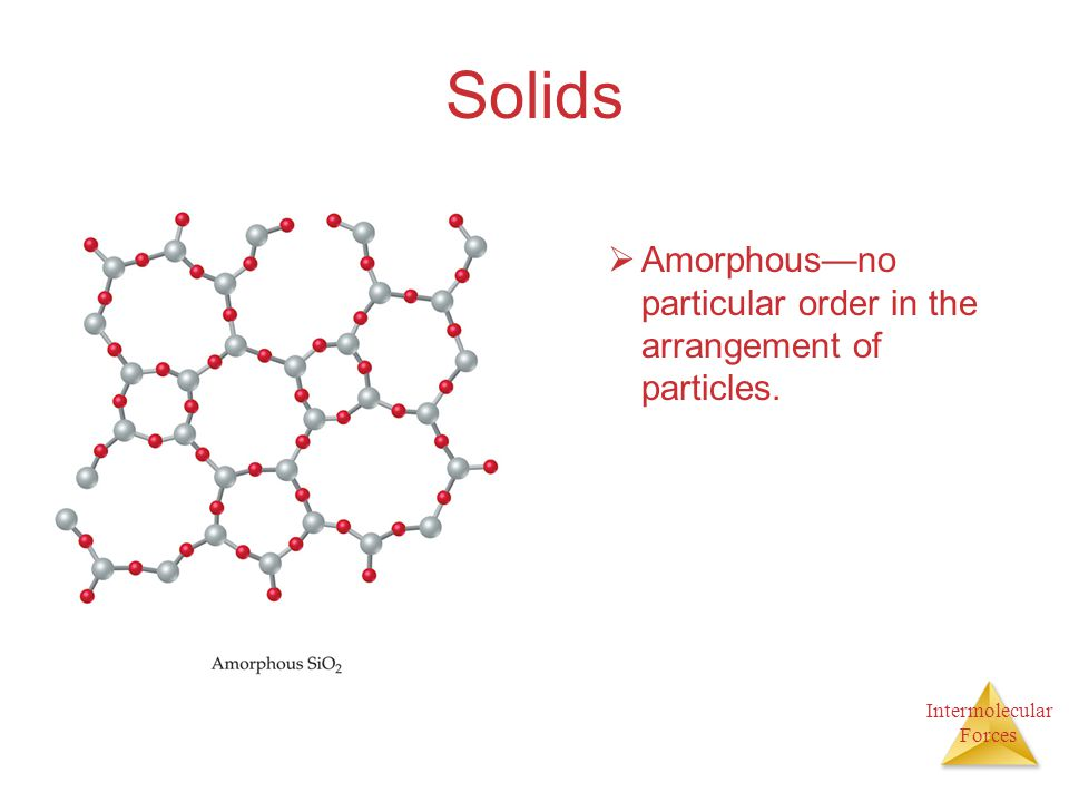 Solids Amorphous—no particular order in the arrangement of particles.