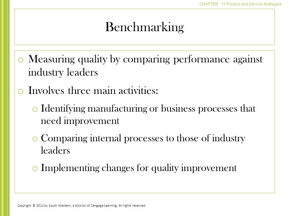Benchmarking Measuring quality by comparing performance against industry leaders. Involves three main activities: