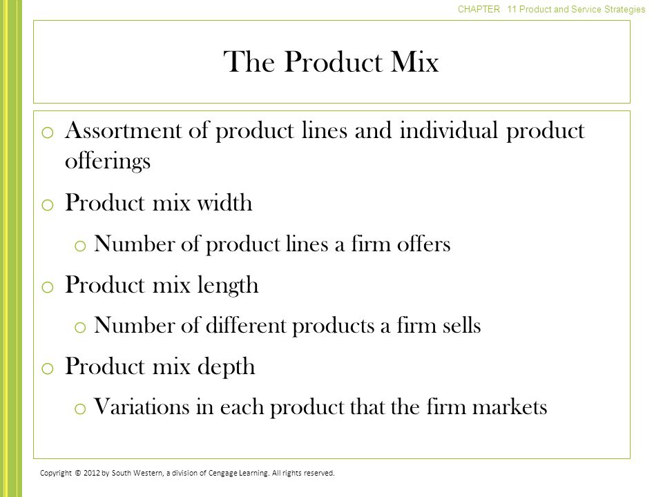 The Product Mix Assortment of product lines and individual product offerings. Product mix width. Number of product lines a firm offers.