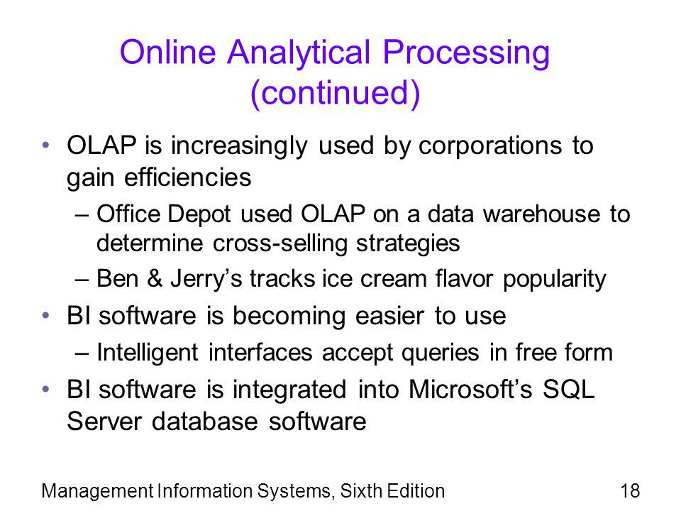 Online Analytical Processing (continued)