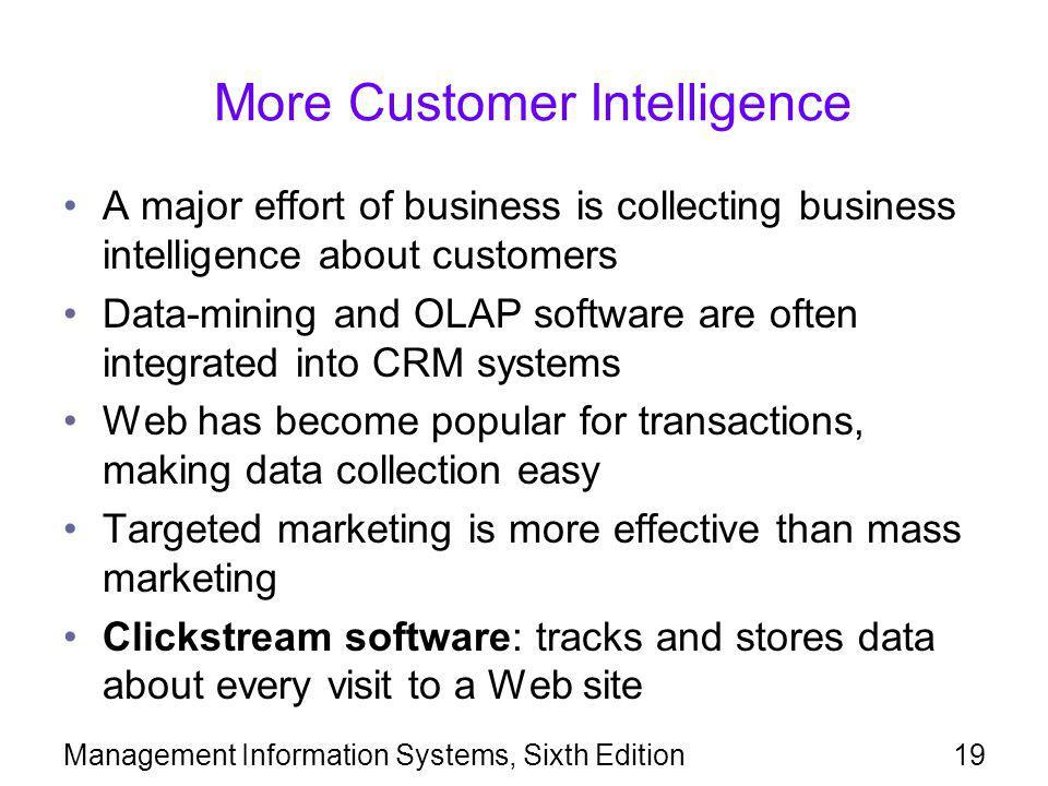 More Customer Intelligence