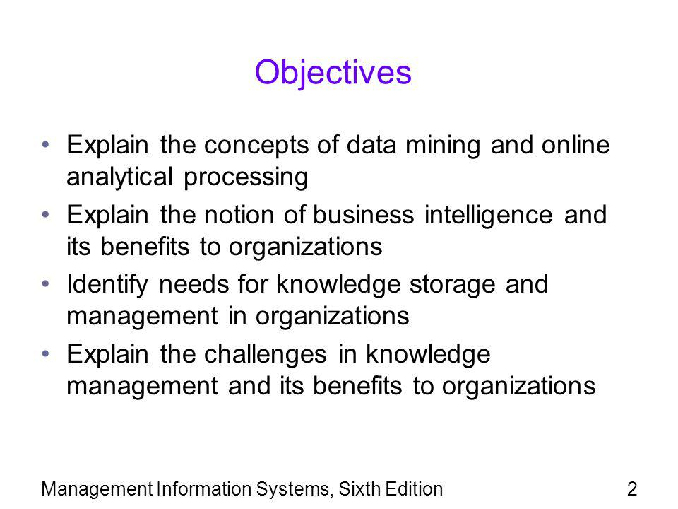 Objectives Explain the concepts of data mining and online analytical processing.