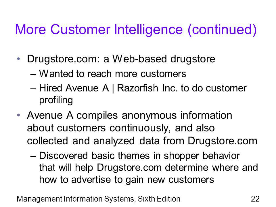 More Customer Intelligence (continued)