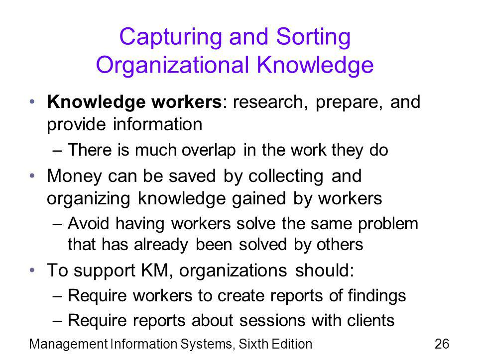 Capturing and Sorting Organizational Knowledge