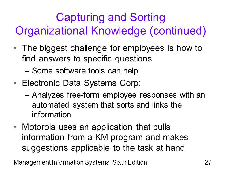 Capturing and Sorting Organizational Knowledge (continued)