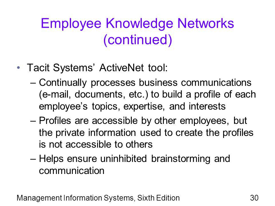 Employee Knowledge Networks (continued)