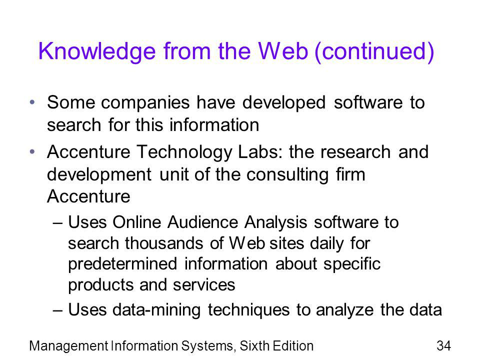 Knowledge from the Web (continued)