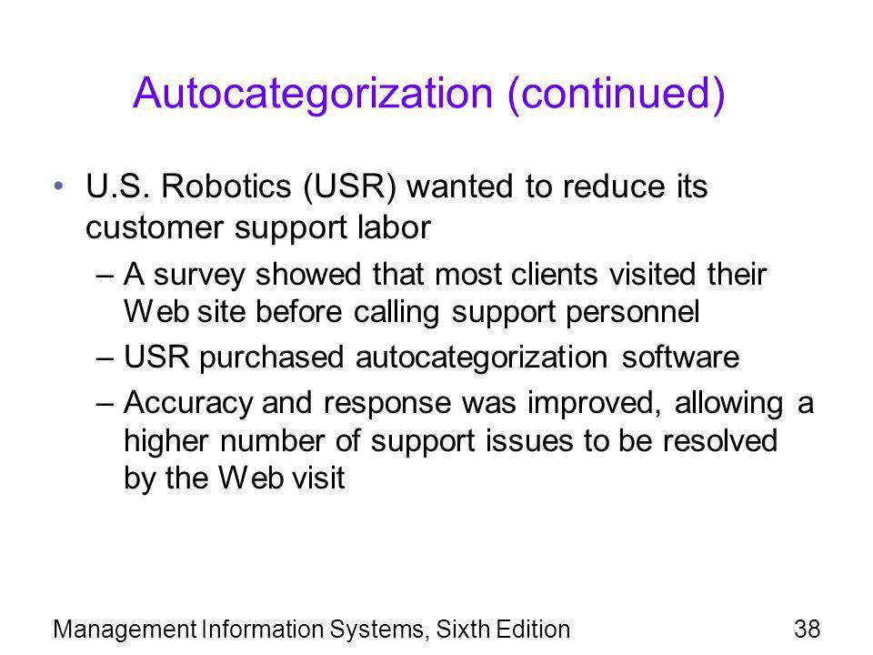 Autocategorization (continued)