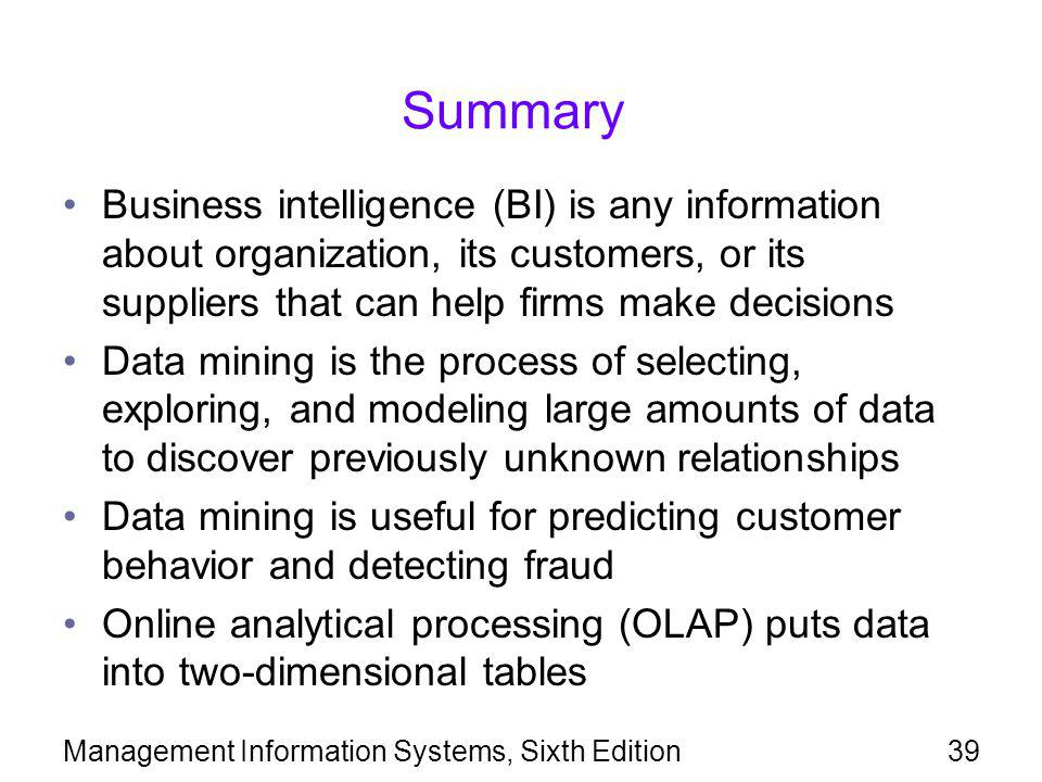 Summary Business intelligence (BI) is any information about organization, its customers, or its suppliers that can help firms make decisions.