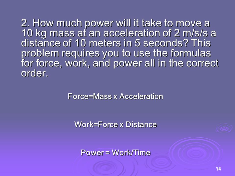 Force=Mass x Acceleration