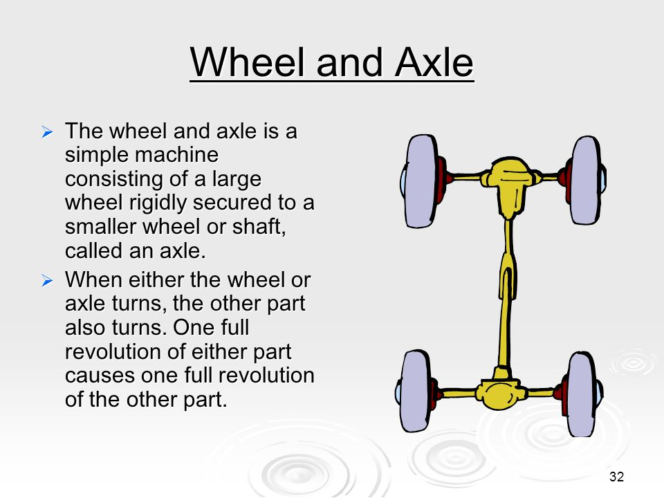 Wheel and Axle The wheel and axle is a simple machine consisting of a large wheel rigidly secured to a smaller wheel or shaft, called an axle.