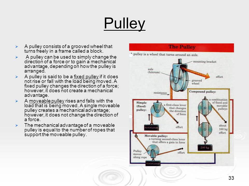 Pulley A pulley consists of a grooved wheel that turns freely in a frame called a block.