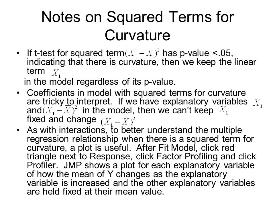 Notes on Squared Terms for Curvature