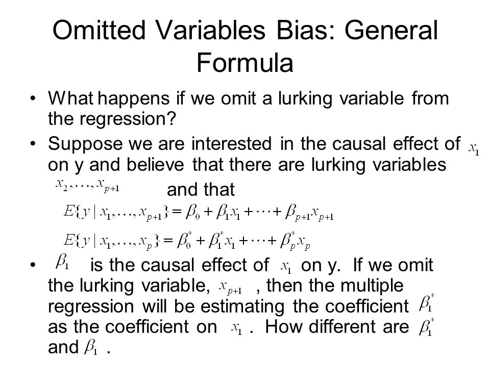 Omitted Variables Bias: General Formula