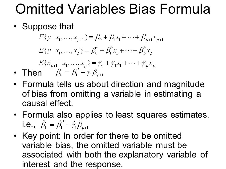 Omitted Variables Bias Formula