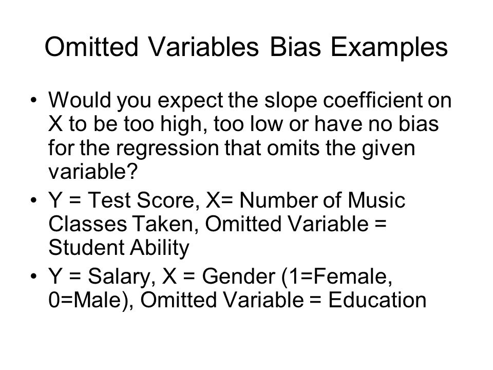Omitted Variables Bias Examples