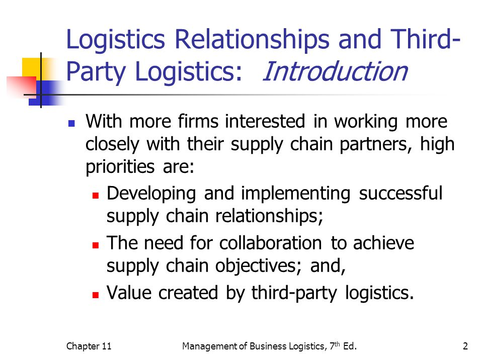 Logistics Relationships and Third-Party Logistics: Introduction