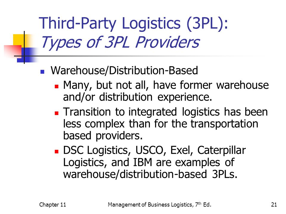 3pl providers and users Provider's stand point from fig 4, we can see that within the company, the 3pl provider can coordinate its inbound logistics with warehousing and also with outbound.