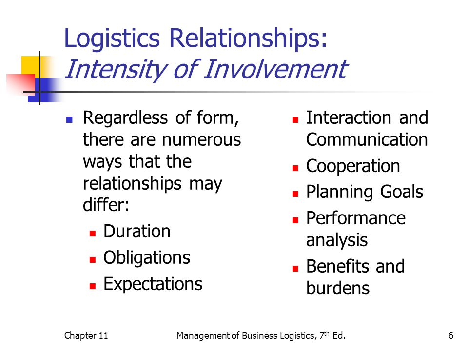Logistics Relationships: Intensity of Involvement