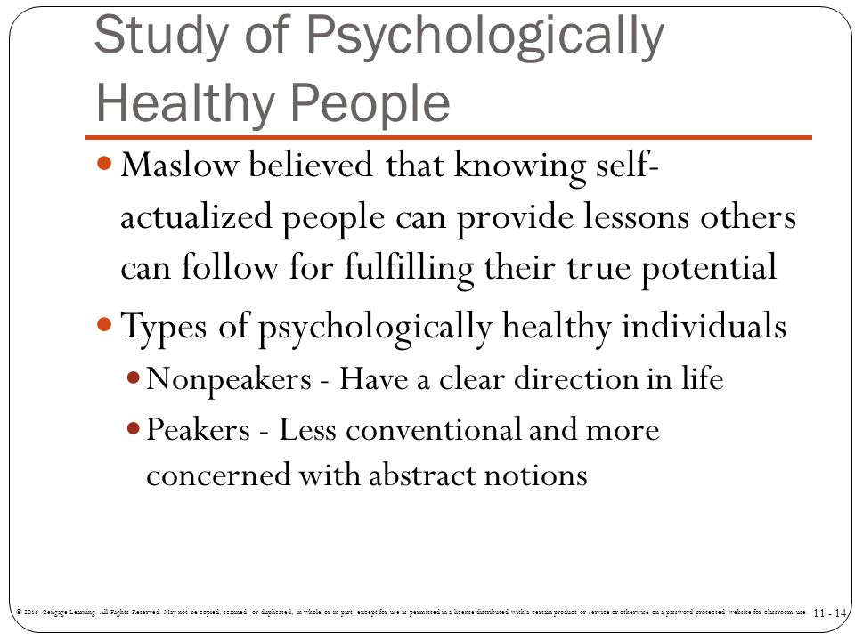 Study of Psychologically Healthy People